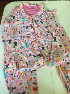 Nick & Nora Pink Sewing Machine Notions Pajamas PJ's Set Modal Spandex Sz M #NickNora #PajamaSets #Seamstress