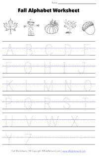 fall alphabet tracing worksheet