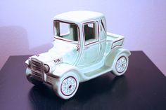 Jalopy Ceramic Car Planter, Light Green w/ Brown Trim by mixandmatchdining on Etsy