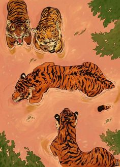 """Creative Drawing """"Tiger Beach"""" by Vincent Cecil on INPRNT - This is a gallery-quality giclée art print on cotton rag archival paper, printed with archival inks. Japon Illustration, Tiger Illustration, Fashion Illustration Collage, Pattern Illustration, Wow Art, Pics Art, Art Plastique, Aesthetic Art, Aesthetic Painting"""