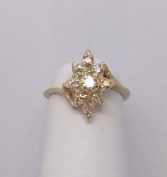 14K Yellow Gold W 9 Diamonds Waterfall Cluster Cocktail Ring Size 2 1.3 Grams