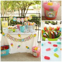 "Summer Popsicle Party. I love the cute little ""popsicle"" candies!"