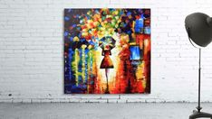"""Lady in the rain.Lady in the rain - Colorful abstract cityscape painting. Original pallet knife acrylic on canvas home décor. Ready to hang wall artwork. Size: 50x50 cm / 20""""x20"""" #art #painting #abstract #acrylic #modern #original #wall #decor #gift #cityscape #landscape #palletknife #homedecor #home #colorful Painting Abstract, Stretched Canvas Prints, Canvas Artwork, Wall Art Decor, Amazing Art, Pallet, Pop Art, Art Gallery, Rain"""