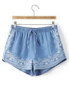 Shop Blue Printed Elastic Waist Vintage Shorts online. SheIn offers Blue Printed Elastic Waist Vintage Shorts & more to fit your fashionable needs.