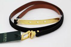 Lauren by Ralph Lauren Women's Belt Black Skinny Calf Hair Gold Tone Hardware #RalphLauren