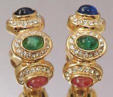 CHRISTIAN DIOR Vintage Earrings Multi Color Rhinestone Signed