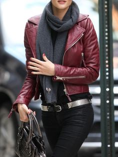 Winter style, love the red butter leather
