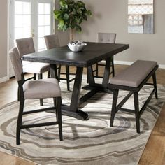 The Hampton 6 piece counter height dining set comes with a table, 4 side chairs and a bench in a beautiful two-tone color palette. Update your dining room with furniture from Jerome's today! Dining Room Furniture Sets, Dining Room Bench, Dinning Table, Dining Room Sets, Table And Chairs, Side Chairs, Trestle Table, Jerome Furniture, Benches For Sale