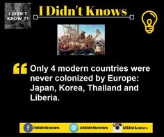 Only 4 modern countries were never colonized by Europe Random Facts, Weird Facts, The More You Know, How To Know, What The Fact, Medical Mnemonics, Life Decisions, Liberia, True Facts