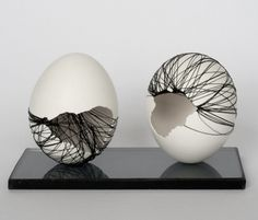 Motivation Series by Anna Gates, Eggshells embroidered with thread, 2011-2012