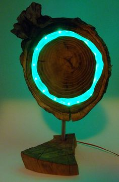 Wooden green LED lamp treeslice acacia with by PixiedustStore