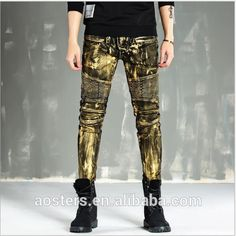 Fit fashion gold coating washed preshrunk locomotive men jeans