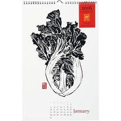 2016 Black & White Vegetables Calendar