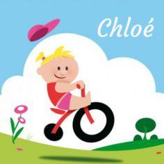 Stoer geboortekaartje met meisje op fiets