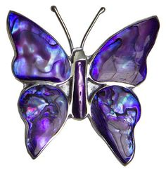 Purple Abalone Butterfly Pin