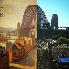 Sydney Harbour Bridge from Millers Point 1952 > 2016. [1952 painting by Roland Wakelin State Library of NSW > Justin Moffatt. By Justin Moffatt]