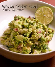 LUNCH Avocado Chicken Salad - a super easy, healthy meal! Avocado Recipes, Paleo Recipes, Real Food Recipes, Chicken Recipes, Cooking Recipes, Yummy Food, Guacamole Recipe, Cleanse Recipes, Cooking Tips