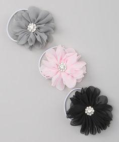 Look what I found on Black, Pink & Gray Flower Hair Tie Set Grey Flowers, Flowers In Hair, Flower Hair, Charlotte Rose, Pink Grey, Gray, Tie Set, Ponytail Holders, Hair Ties