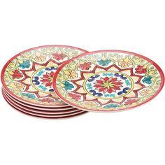 6-Piece Melamine 8.5  Salad Plates Red Damask  sc 1 st  Pinterest & Better Homes and Gardens 6-Piece Melamine 10.5