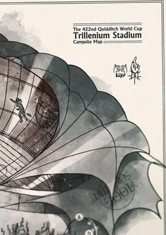 World Cup Trillenium Stadium Campsite Map - Original illustration reproduction - Printed in aged paper - Inspired in HP movies and books Art Sombre, Hogwarts, Harry Potter Quidditch, How To Age Paper, Reproduction, Messages, Coincidences, Feeling Great, Watercolor Illustration