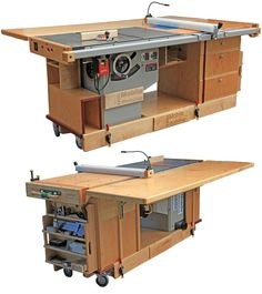 Mobile workshop - table saw, outfeed table, router table, and storage - all on wheels in one unit.