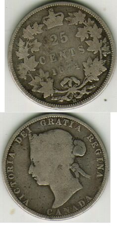 1874 H CANADA 25 CENTS COIN  Price : $7.00  Ends on : 2 weeks Order Now