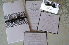 Black & White Damask Pocket Wedding Invitation Sample Set