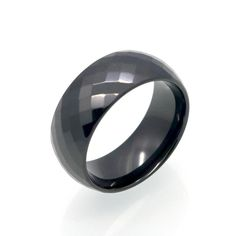 Multi Faceted Black Ceramic Ring For Men