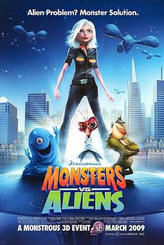 Watch The Movie Monsters Vs Aliens. A woman transformed into a giant after she is struck by a meteorite on her wedding day becomes part of a team of monsters sent in by the U. government to defeat an alien mastermind trying to take over Earth. Streaming Hd, Streaming Movies, Monsters Vs Aliens Movie, Alien Movie Poster, Movie Posters, Tous Les Disney, Alien Films, Alien Photos, Dreamworks Animation