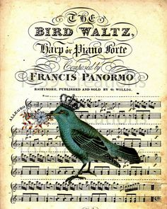 "Paintings with birds and music | Vintage crowned blue bird on vintage sheet music ""The Bird Waltz"""