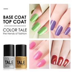 Sale Color Tale UV Nail Gel Soak off Nail Gel Polish Transparent Top Coat Base Coat Long. Click visit to check price #NailGel