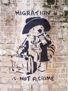 Such an aborable wall painting! :D And so true! 'Migration Is Not a Crime'