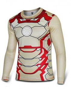 Cool MK42 Iron Man 3 mens red shirt The Avengers hero long sleeve tshirt plus size