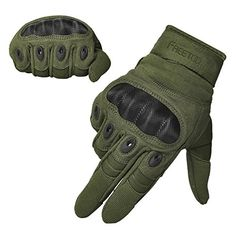FREETOO Tactical Gloves Military Rubber Hard Knuckle Outdoor Gloves for Men Full Finger Gloves Army Green L * Click on the image for additional details. Note: It's an affiliate link to Amazon