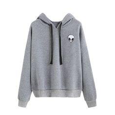 DIDK Casual Pullovers For Women Autumn New Ladies Hoodie Alien Print Long Sleeve Drop Shoulder Hooded Sweatshirt