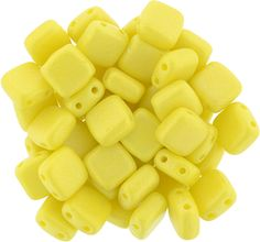 250-66-MSG8313 CzechMates Tile Bead 6mm : Sueded Gold Opaque Yellow