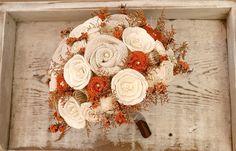 Orange Rustic Autumn Wedding Heirloom Bride's Bouquet by TheSunnyBee #etsyweddings