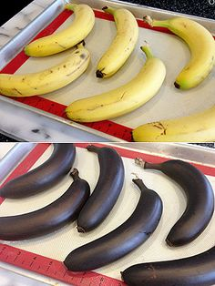 Need ripe bananas? roast whole bananas in the oven for 40 minutes at to ripen them. They'll end up soft, black and the perfect texture for baking a moist loaf of banana bread . E Cooking, Cooking Recipes, Cooking Classes, Cooking Bacon, Cooking Games, Cooking Light, Basic Cooking, Cooking Steak, Cooking School