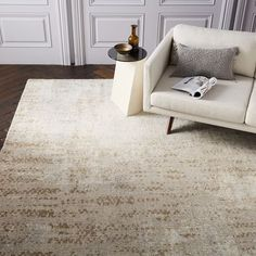 this rug migt be good to match the coffee table and couch !     Distressed Foliage Rug - Platinum | west elm