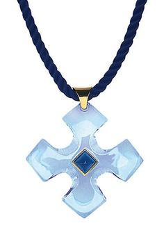 Baccarat Guet-Apens Iridescent Aquamarine Cross Pendant