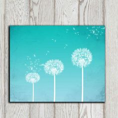 Dandelion art print Turquoise Dandelion Wall art Home decor print Bedroom wall decor Poster Abstract flower Office decor INSTANT DOWNLOAD, $5.00