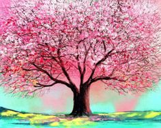 Commission tree custom original painting by Aja 30x40 inches Spring Story of the Tree 74