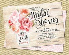 Bridal Shower Invitation Mason Jar Floral Pink Peonies Rustic