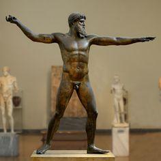 The Ancient Way of Life — ~ Bronze statue of Zeus or Poseidon. Ancient Greek Sculpture, Greek Statues, Ancient Greek Art, Angel Statues, Egyptian Art, Ancient Aliens, Ancient Greece, Ancient Egypt, Ancient History