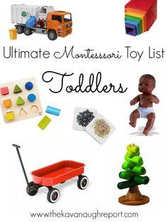 The Ultimate Montessori Toy List -- Birth to Five -- UPDATED 2020 Montessori Baby, Montessori Activities, Infant Activities, Montessori Bedroom, Toddler Play, Toddler Learning, Toddler Preschool, Learning Games, Baby Play