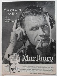 1950s Marlboro Men Black & White Photo Cigarettes Vintage Advertisement Rugged Masculine Smoking by Christian Montone, via Flickr