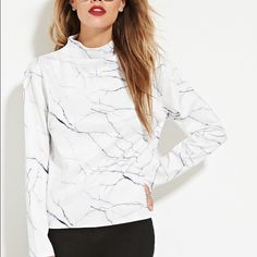 Eric + Lani Marble Print Long Sleeve Top NEW Scuba material - funnel neck NEW condition eric + lani Tops Tees - Long Sleeve