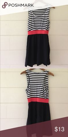 Forever 21 Striped Dress Forever 21 brand size medium white and black striped with pink waist band dress. Bust is 34 inches length is 32 inches waist is 25 inches. 100% rayon. In excellent condition. Forever 21 Dresses Midi