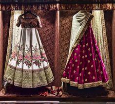 Inside the store - floral and maroon velvet lehenga - Sabyasachi Spring Summer Weddings 2016 collection Pakistani Bridal, Bridal Lehenga, Indian Bridal, Indian Attire, Indian Wear, Indian Style, Indian Ethnic, Indian Dresses, Indian Outfits