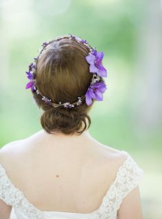 purple flower crown hairpiece by The Honeycomb - www.thehoneycomb.etsy.com. Custom couture-quality hair adornments.
